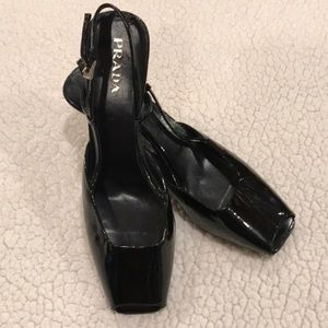 Prada Black Pattern Leather Wedge